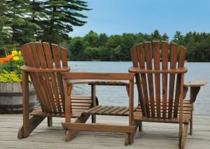 Chairs on lake dock