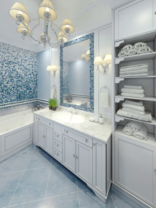 Graceful bathroom art deco design. 3D render